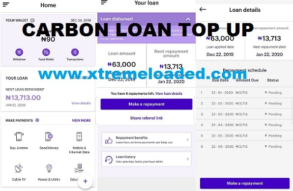 Carbon Loan Top Up feature and how it works