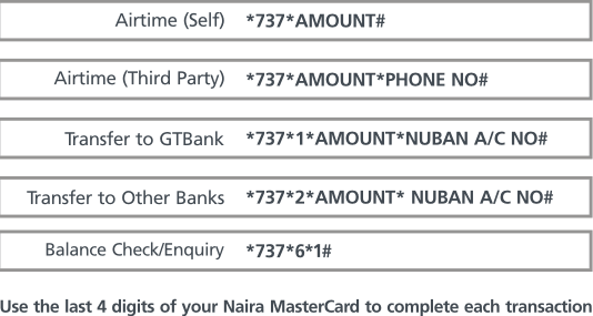 How to Buy airtime credit and transfer Money using Gtbank