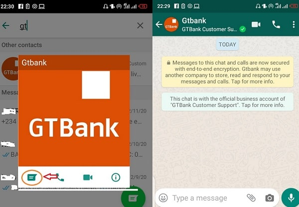 GTbank Whatsapp contact Phone number (Chat with Customer services support)