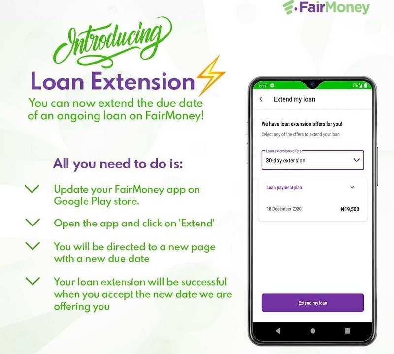 (Good News) FairMoney Introduced Loan Extension