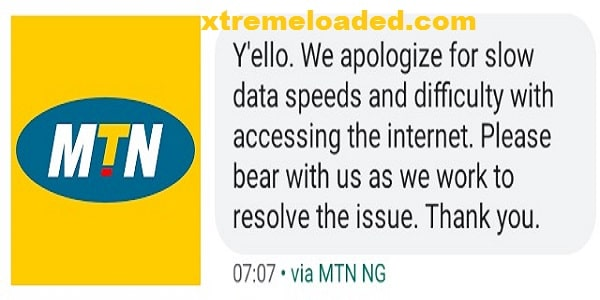 MTN Apologizes for slow data speed and difficulty accessing the Internet